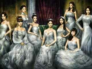 少女时代组合高清手绘美女壁纸