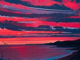 海边晚霞高清手绘