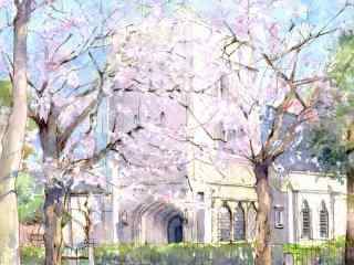 樱花唯美手绘风景壁纸