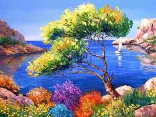 海边风景手绘风景壁纸