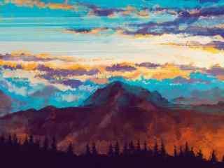 唯美山景手绘风景