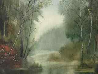 树林高清手绘风景壁纸