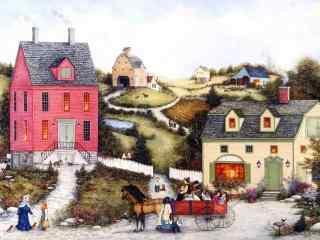 优美美国乡村手绘风景壁纸