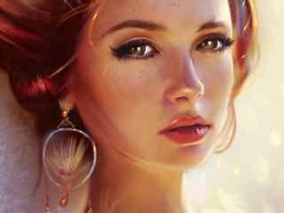 红发雀斑少女手绘美女壁纸