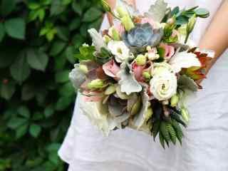 婚礼新娘多样植物手捧花高清电脑桌面壁纸