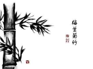 竹子水墨画简单朴素桌面壁纸