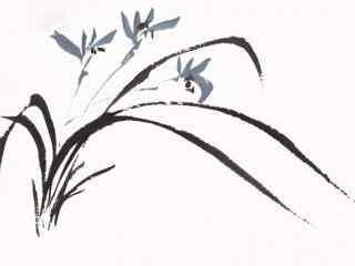 兰花国画简笔素雅桌面壁纸