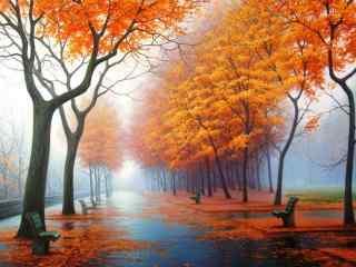 秋日落日铺满街道桌面壁纸