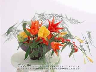 2017年8月日历植物盆栽图片壁纸