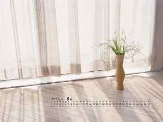 2017年8月日历室内盆栽桌面壁纸