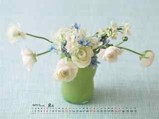 2017年8月日历可爱小盆栽植物桌面壁纸