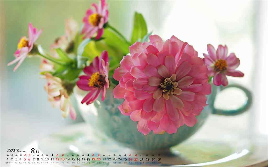 2017年8月日历水杯中的鲜花桌面壁纸