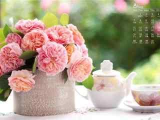2017年8月日历美丽的鲜花桌面壁纸