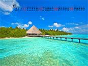 2018年8月日历壁纸马尔代夫海边风景壁纸
