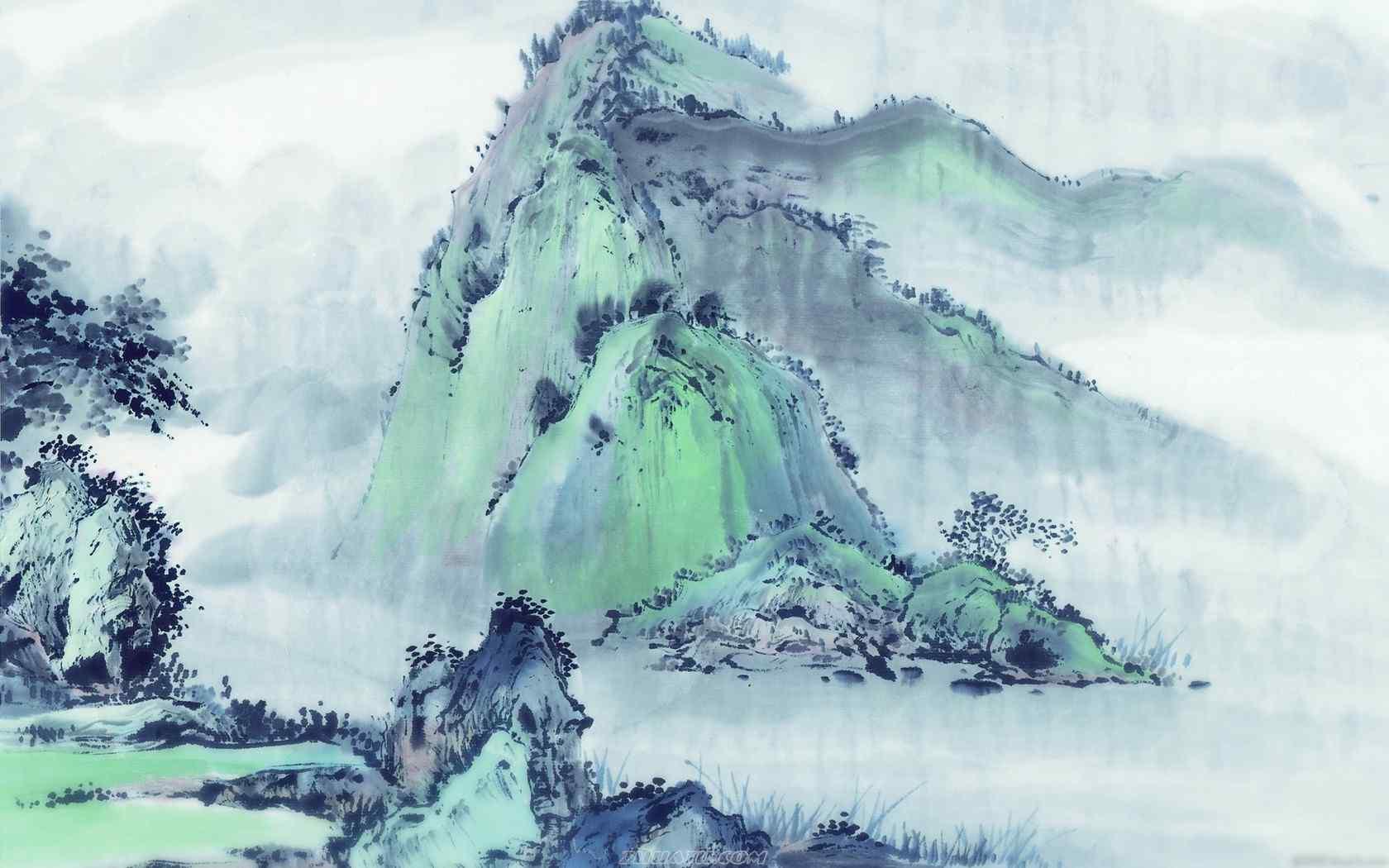 复古山丘墨画壁纸