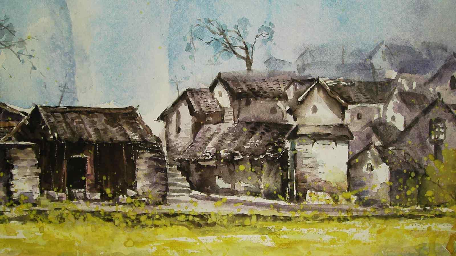 乡村山水墨画壁纸