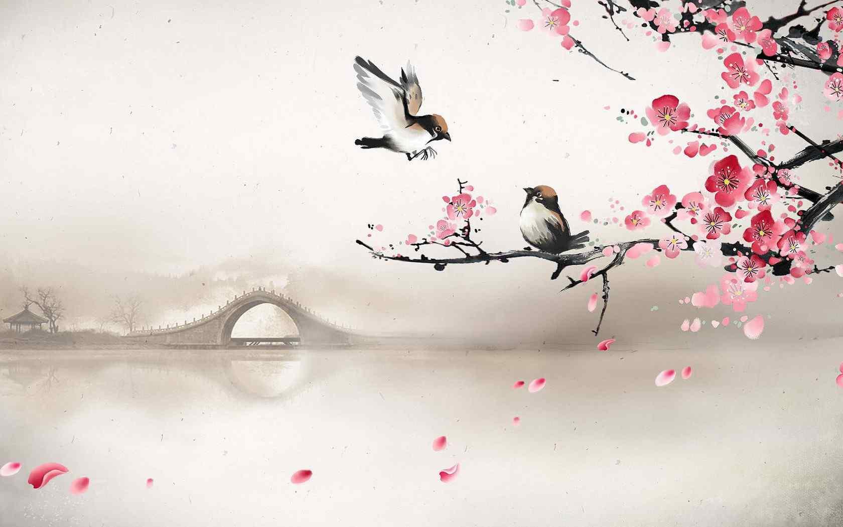唯美小桥小鸟壁纸
