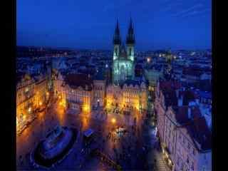 捷克布拉格迷人夜景灯光闪烁桌面壁纸