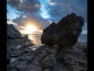 新西兰北岛海边岩