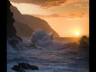 夏威夷夕阳岩石大