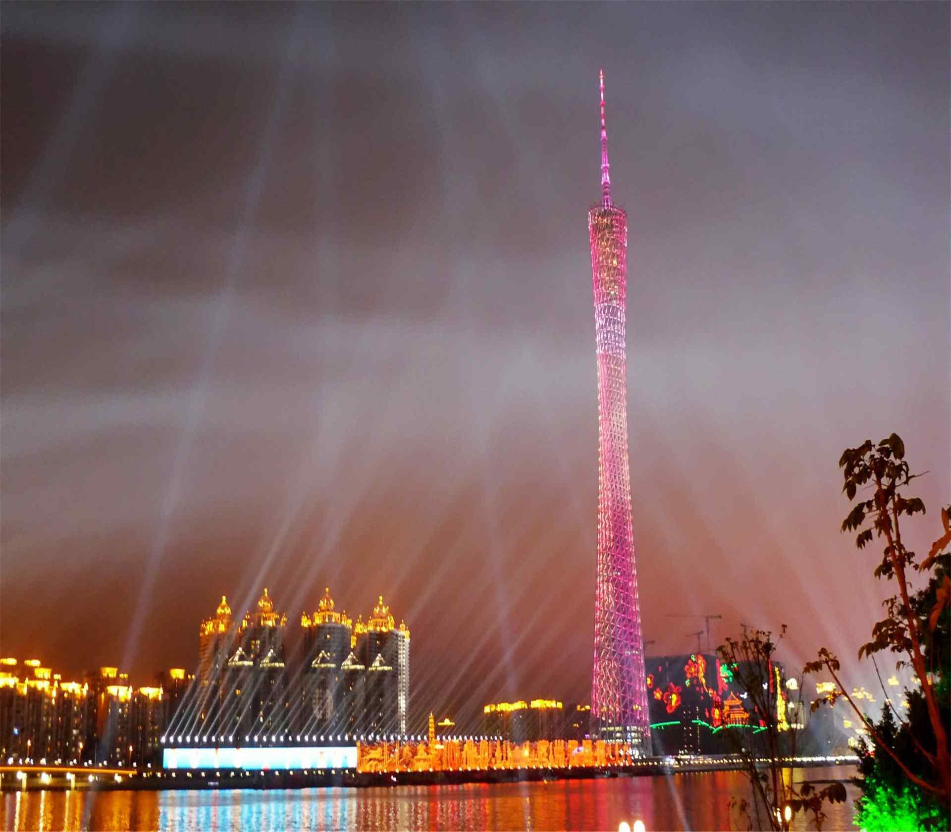 广州塔小蛮腰夜景灯光五彩图片电脑桌面壁纸下载