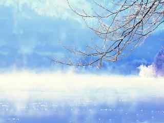 唯美雪景桌面壁纸高清下载:湖光涟影 初雪立冬