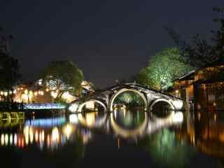 江南乌镇印象夜景桌面壁纸