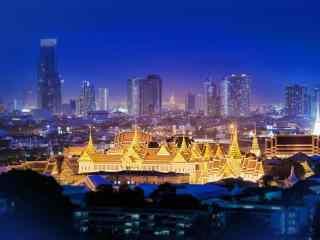 夜空下的泰国大皇宫桌面壁纸