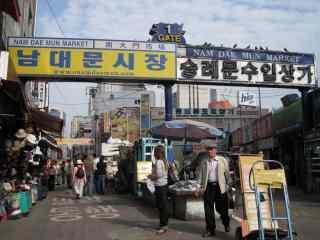 韩国首尔南大门市场剪影桌面壁纸