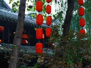 成都古风特辑之古城里的红灯笼桌面壁纸