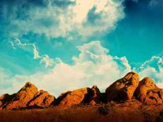 天空下的岩石沙漠自然风景桌面壁纸