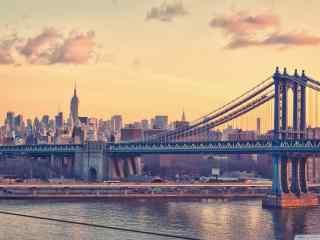 唯美夕阳下的大桥