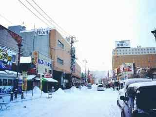 函馆街道雪景北海道风光桌面壁纸