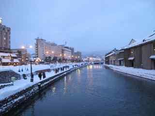 华灯初上唯美的小樽运河雪景北海道风光桌面壁纸