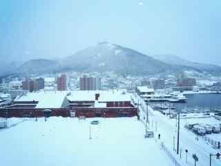 函馆朝市雪景北海道风光桌面壁纸
