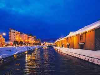华灯初上唯美的小樽运河雪景北海道风光桌面壁纸2