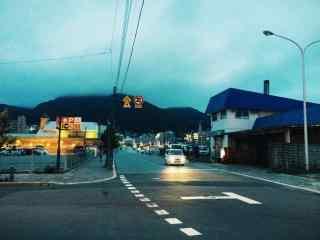 函馆黄昏街景北海道风光桌面壁纸