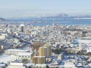 函馆雪景俯瞰北海道风光桌面壁纸