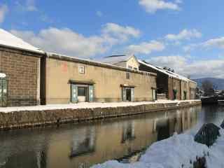 小樽运河雪景北海道风光桌面壁纸