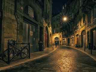 法国巴黎文艺城市夜景桌面壁纸