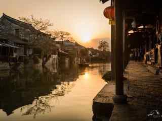 晚霞中的美丽西塘古镇风景壁纸