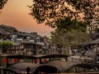 美丽晚霞中的西塘古镇风景壁纸
