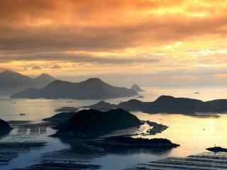 最美的滩涂福建霞浦美丽的海边日出桌面壁纸3