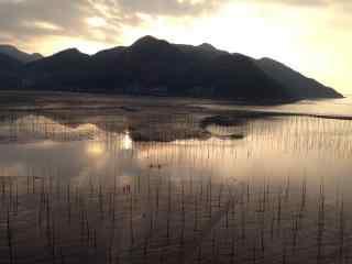 福建霞浦最美的滩涂日出风光桌面壁纸