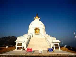 尼泊尔白色宗庙人文建筑高清风景壁纸
