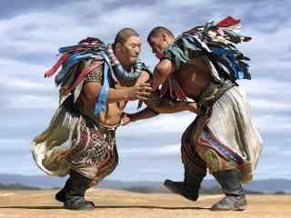 蒙古汉子摔跤比赛高清图片壁纸