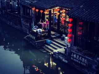 晚风中的西塘古镇风景壁纸