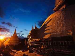宁静自然的尼泊尔宗庙人文建筑高清风景壁纸