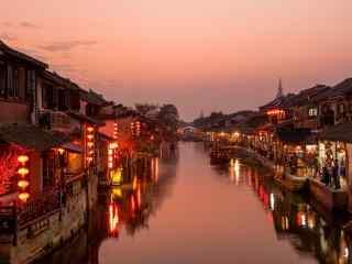 傍晚的美丽西塘古镇风景壁纸