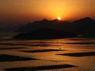 最美的滩涂福建霞浦美丽的海边日出桌面壁纸2
